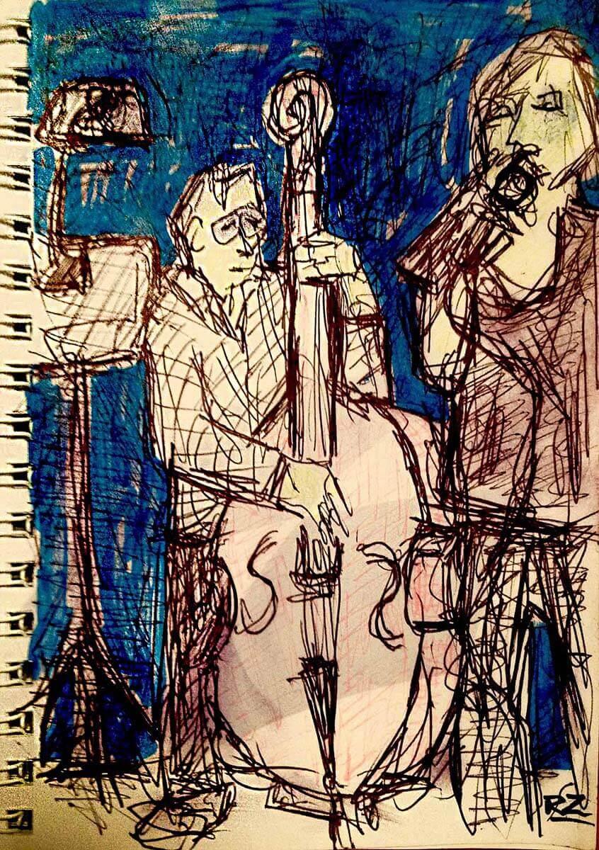 Jam Session im Jazzclub Unterfahrt, Zeichnung Rob Zeer
