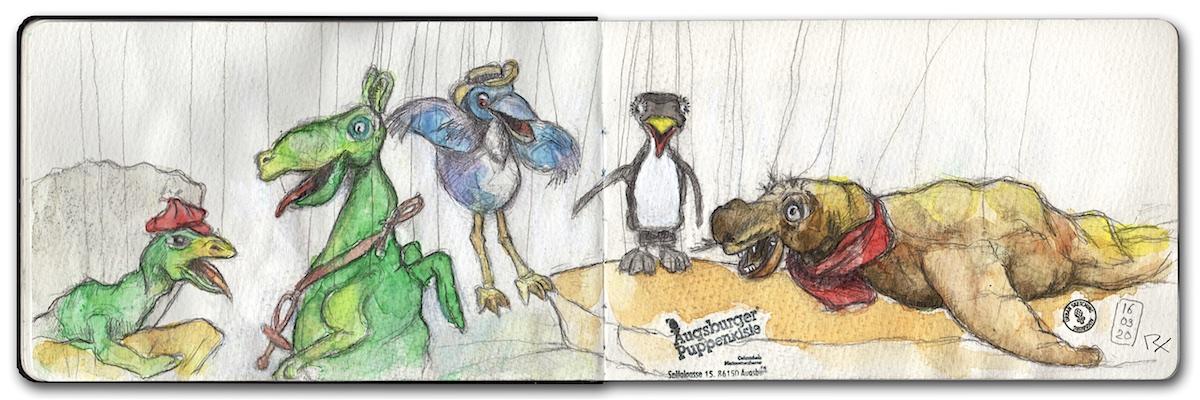 Zeichnung Marionetten Urmel aus dem Eis